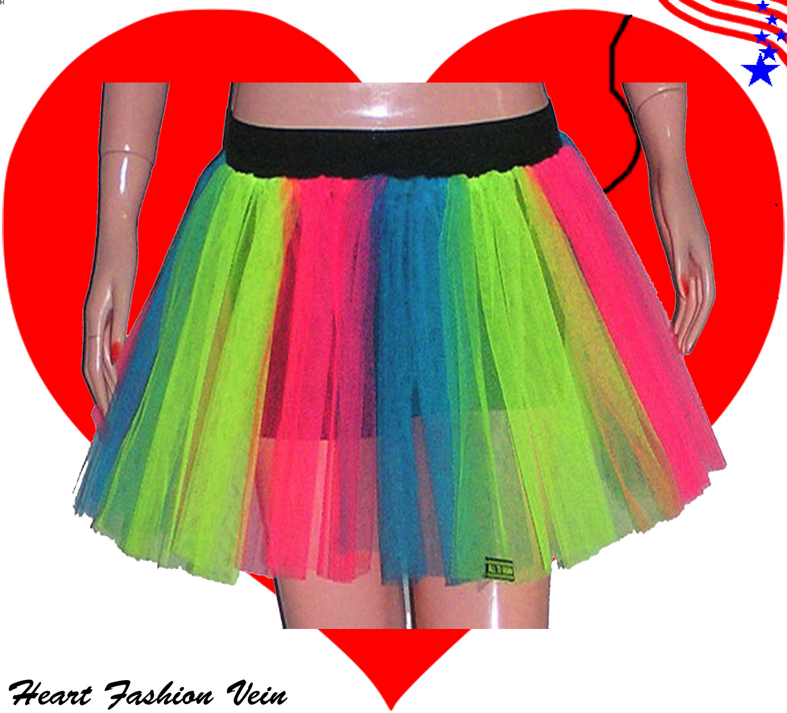 Home Heart Fashion Vein Tutu Skirt Petticoat Legwarmers Fancy Costumes Dress Halloween Christmas Dance UV Neon Hen Party Parties Clubwear Cosplay Daram