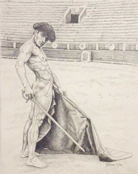 "9/"" x 12/"" drawing print nude male with hockey stick and gloves"